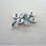Lt. Blue Mini Crystal Spacer Beads -25