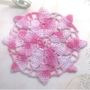 Pink Vintage Crocheted Doily - 3