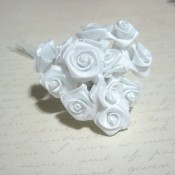 Med. Satin Ribbon Roses - 12