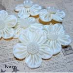 Lg. Satin Flower w/ Pearls - 3