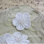 Small Satin Flower w/ Pearl - 6