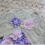 Mini Satin Flower w/ Pearl - 12