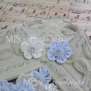 Mini Satin Flower w/ Pearl n' Rhinestone - 12