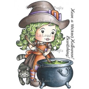 Cauldron Witch Marci (w/ Sentiment) Stamp