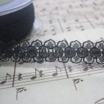 Black Dainty Floral Lace - 1yd