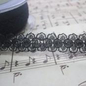 Black Dainty Floral Lace - 1yd