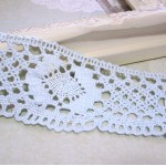 Aged Lt. Blue Crocheted Lace -1yd
