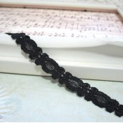 Black Scalloped Lace - 1yd