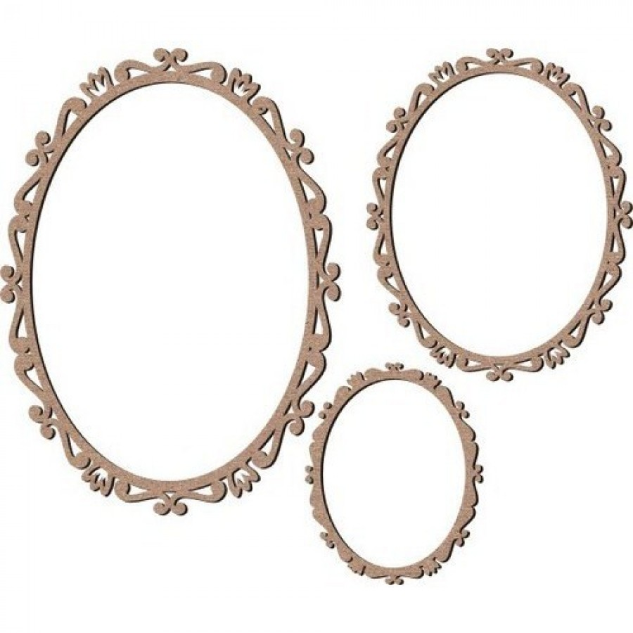 chipboard embellishments victorian oval frame set 3 pc