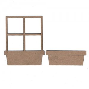 Chipboard Embellishments - Window & Flower Box Frame