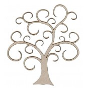 Chipboard Embellishments - Swirl Tree Small