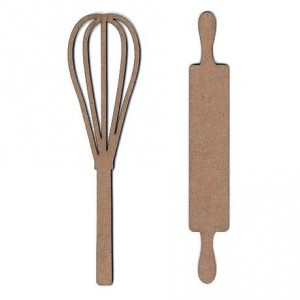 Chipboard Embellishments - Whisk & Rolling Pin