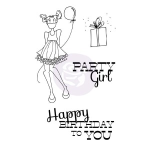 Mixed Media Doll Cling Stamp Set - Party Girl