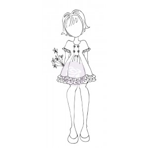 Mixed Media Doll Cling Stamp - Keira