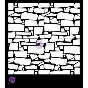Designer Stencil - Rectangle Stacked Stone Background - 6x6