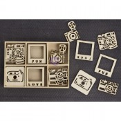 Laser Cut Wood Icons In A Box - Cameras