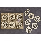 Laser Cut Wood Icons In A Box - Gears