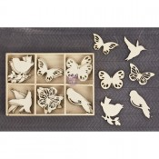 Laser Cut Wood Icons In A Box -Birds & Butterflies