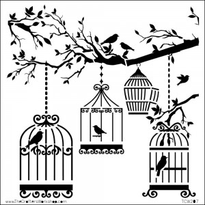 Doodling Templates - Mini Birds Of A Feather - 6x6