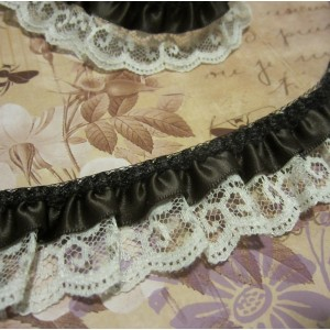 "1 1/4"" Ruffled Satin n' Lilly Lace - 1yd"