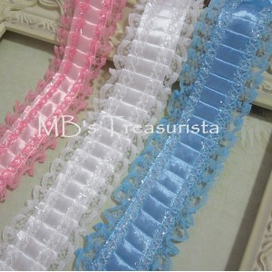 Pleated Satin n' Lace Trim - 1yd