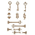 Chipboard Embellishments - Antique Keys with Locks and Hardware - Card Size